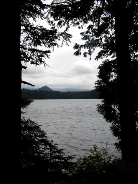 Cloudy View of Mount Hood from Lost Lake