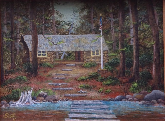 Painting of Lost Lake cabin by Aunt Sally