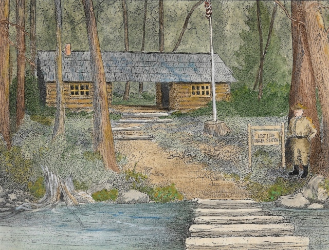 Drawing of Lost Lake cabin (I believe by Aunt Sally) complete with forest ranger!